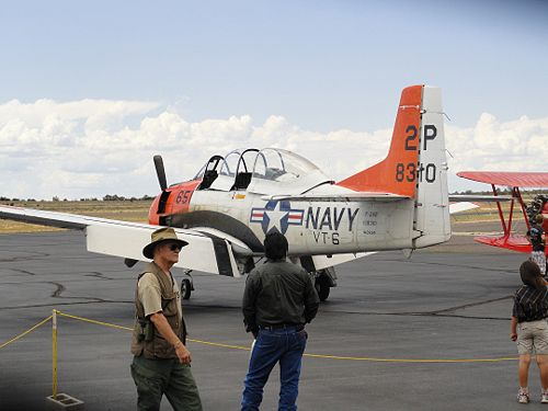 The T-28 Naval Trainer provided a thrill with the sound of its powerful radial engine.