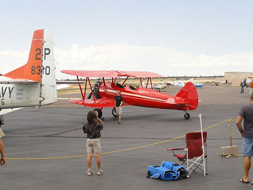 The Stearman was a popular ride with its open cockpits and passenger in front.